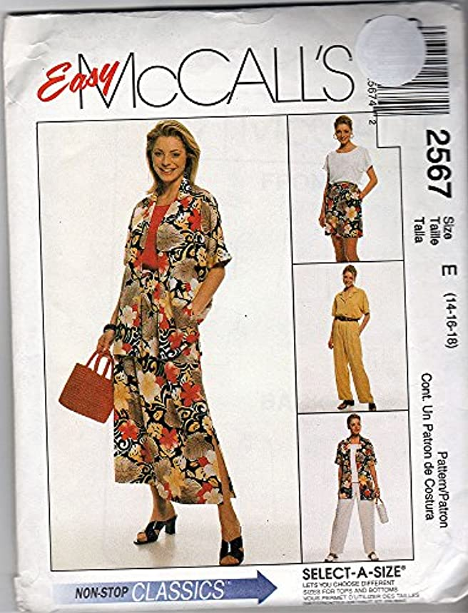 McCall's 2567 ?2000 Misses Shirt, Top, Pants, Shorts; Sizes 14-16-18