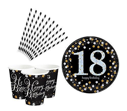 Feste Feiern Geburtstagsdeko Zum 18 Geburtstag   26 Teile All in One Set Teller Becher Strohhalme Gold Schwarz Silber Party Deko Happy Birthday