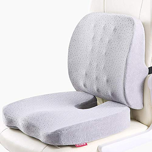 Coccyx Seat Cushion Lumbar Support Pillow for Office Chair,Memory Foam Back Cushion for Car,Washable Covers,Ergonomic Contoured Posture Corrector for Sciatica,Coccyx Back Pain Relief-Light Grey