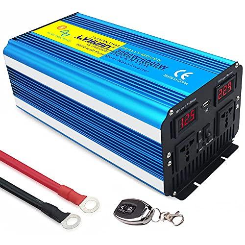 GZTYLQQ Inverter a Onda sinusoidale Pura da 3000W 12V 24V DC a 110V 220V AC Inverter di Alimentazione per Auto con 2 Prese AC 1 USB Output Power Battery Converter-Potenza di Picco 6000W