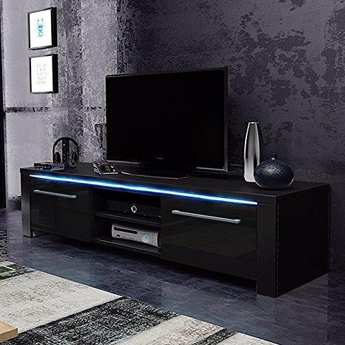 Messa - Mobile TV con 2 armadi e 2 vani aperti (140 cm, in rovere Sonoma chiaro con illuminazione LED).