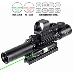 4 in 1, comes with a rangefinder riflescope, a green laser sight and a red/green dot sight everything you will ever need. Magnifications from 3X up to 9X, green/red illuminations with 5 brightness adjustments for both the riflescope and electronic un...