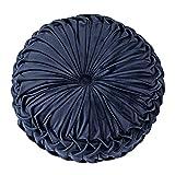 Starmood Redondo Terciopelo Calabaza Cojín Asiento Cubierta para Silla Tapete Sofá Sofá Hogar Decoración - Azul Marino