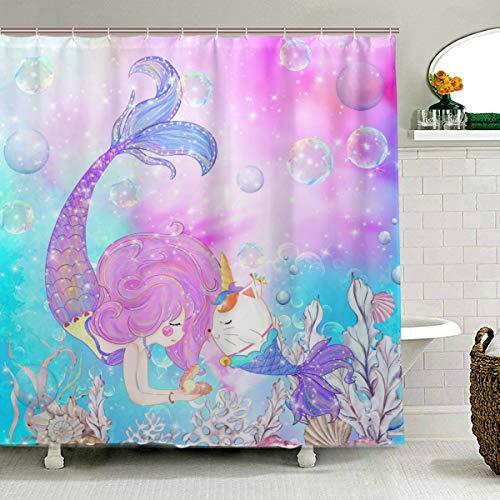 ZOEO Meerjungfrauen-Duschvorhang für Mädchen, mit Einhorn-Motiv, Katze, Fisch, Stoff, wasserdicht, großes Fenster, Badezimmer, Wannen-Gardinen, Sets mit 12 Haken, 152,4 x 182,9 cm