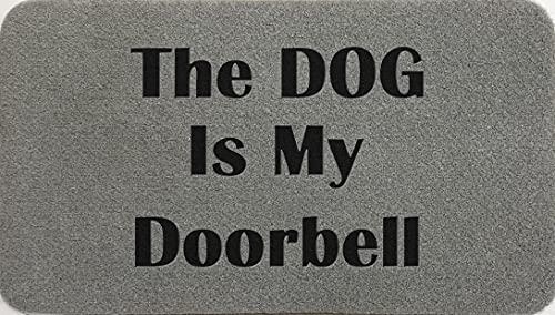 The Dog Is My Door Bell Coir - Felpudo (fibra de coco y fibra de coco sintética, color gris claro, marrón crema y verde