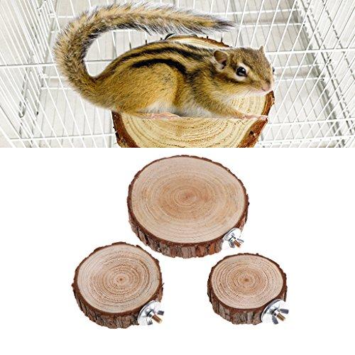 Hergon Vogelkäfig für Papageien, Barsch, Plattform, rund, aus Holz für Chinchilla, Eichhörnchen, Vögel