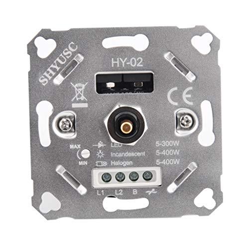SHYUSC® 230V LED Dimmer Eingebetteter Drehdimmer Dimmschalter Phasenabschnitt LED 5-300 VA/W Für Dimmbare Halogenlampen 5-400VA/W Einfach Zu Installieren Mit 5 Jahre Garantie (Stift Ø4mm/6mm) (Silber)
