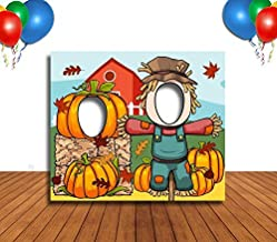 Scarecrow and Pumpkin Hole in Face Banner, Large, Face Cutout, Party Selfie Photo Prop, Birthday Decoration
