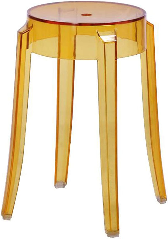 Fashion Transparent Yellow Acrylic Dining Chair Crystal Stool Bar Stool Home Chair Creative 46cm Bar Footstool