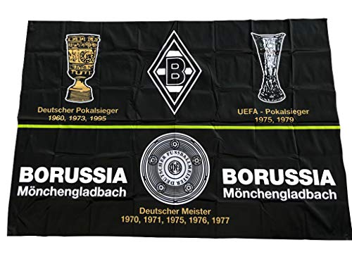 Schwenkfahne Borussia Mönchengladbach Erfolge 150cm x 100cm Flagge Mini Fohlen-Fahne ohne Holzstab Lizenzprodukt