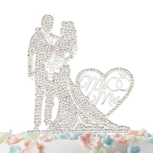 Mr and Mrs Cake Topper Rhinestone Crystal Metal Love Wedding Cake Topper Funny Bride and Groom Cake Topper Silver