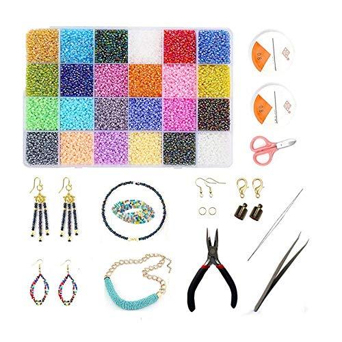 Queta Abalorios para Hacer Pulsera, DIY Kit de Fabricación de Joyas Collar Colgante Conjunto con 28000 Cuentas de 24 Colores, Líneas de Cristal, Tijeras Pequeñas, Pinzas y Otros Accesorrios