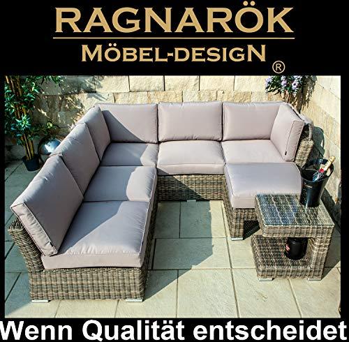 Ragnarök-Möbeldesign PolyRattan Sonneninsel Gartenmuschel | Natur und Beige