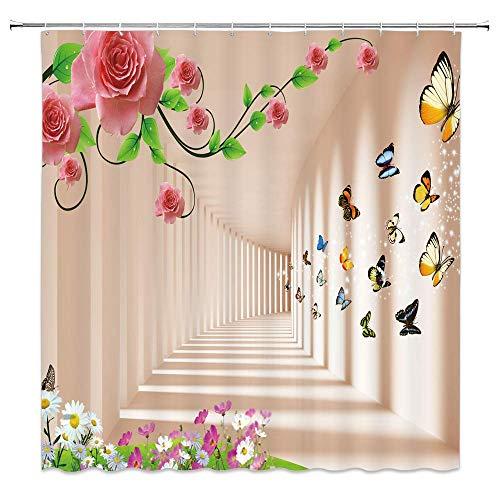 lovedomi Cortina de ducha para túnel, túnel del tiempo, planta de viña, floreciente, diseño de mariposa, color rosa, flor creativa, linda flor pálida, fondo de polvo de 72 x 72 pulgadas