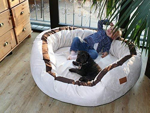 tierlando Lana Hundebett Hundesofa M L XL Velours MEGA DICK 80 100 120cm WEICH: Größe: LA4 100cm L | Farbe: 05 Creme