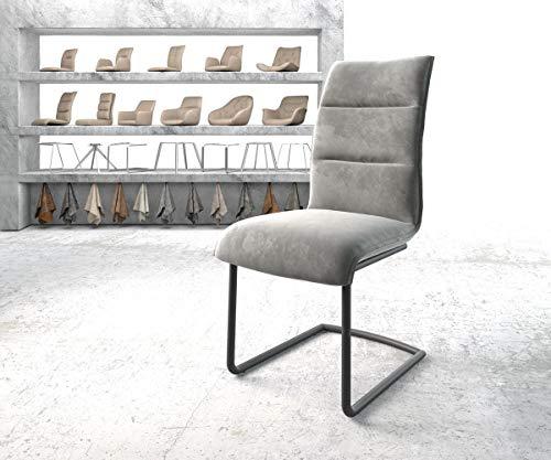 DELIFE Stuhl Xantus-Flex Freischwinger rund schwarz Samt Grau