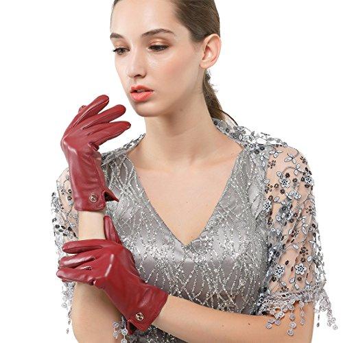Las mujeres de piel de cordero de cuero italianoNappaglo Guantes invierno caliente simple largo forro polar guantes touchscreen (m (Palm:17.8-19.0cm), vino rojo (no táctil))