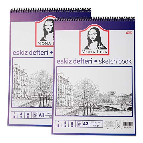 Monalisa Zeichenblock Set (2 Stück), DIN-A3 50 Blatt, Sketchbook mit Spiralbindung 120 g/m² weißes Papier für Zeichnungen, (29,7 x 42,0 cm) mit 100 Seiten Zeichenpapier