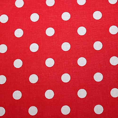 Tela de algodón 100 % para niños, por metros, artesanía, costura, color rojo y blanco