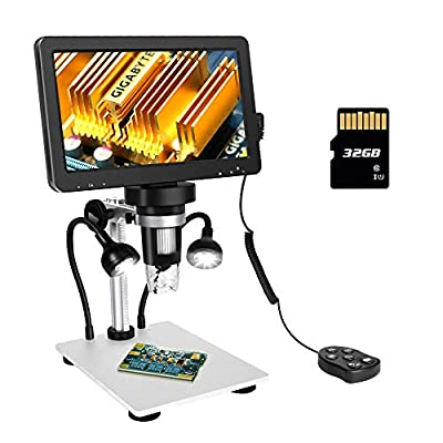 ANNLOV 7 inch LCD Digital Microscope with 32GB TF Card 50-1200X Maginfication 1080P Video Microscope with Wired Remote for Circuit Board Soldering PCB Kids Coin Microscope