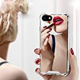 iPhone 7 Plus/iPhone 8 Plus Case for Women Girls, Opretty Luxury Glitter Ultra-Thin Mirror TPU PC Back Protect Case for iPhone7 Plus/iPhone 8 Plus Cover Reflect Girly Cute Case-Silver
