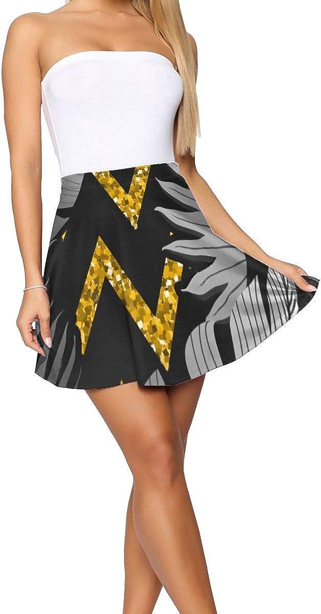 Women's Casual Fashion Flared Short Skirt Exotic Floral Tropical Palm Leaves Skirt Mini Skater Skirt