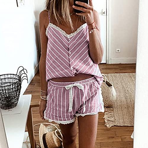 SDCVRE Set pigiama Pigiama corto a righe da donna Set di pantaloncini a canotta senza maniche Set da notte estiva da notte taglie forti, rosa, L.