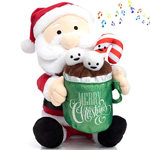 HollyHOME Singing Santa Claus Christmas Plush Toy Animated Santa Plush Holding A Cup of Hot Cocoa for Kids 14 Inch