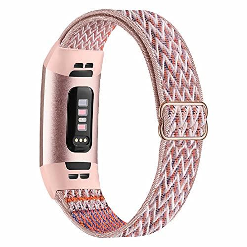 Fengyiyuda Elástico Nylon Correa de Reloj Compatible con Correa Fitbit Charge 3/4,Bandas para Relojes Inteligentes,Hebillas Ajustables,correas de repuesto para Fitbit Charge 3/4,Pink Sand