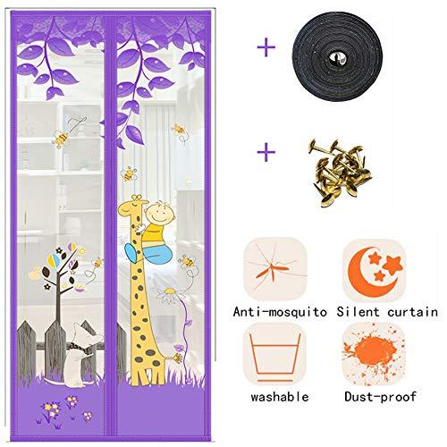 Mosquitera magnética para puerta o antimoscas – Cortina de velcro para puerta de casa, dormitorio, sin perforaciones, 80 x 200 cm, color morado 95 x 215 cm