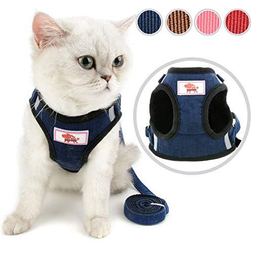 Zunea Katzengeschirr mit Leine ausbruchsicher, kein Ziehen, verstellbar reflektierend mit weichem Netzstoff gepolstert Cord-Weste Geschirr für Kitten, Katzen, Welpen, kleine Hunde Blau XS