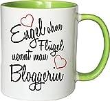 Mister Merchandise Becher Tasse Engel ohne Flügel nennt Man Bloggerin Kaffee Kaffeetasse liebevoll Bedruckt Beruf Job Geschenk Weiß-Grün