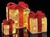 LED Deko Geschenk Boxen - 3er Set inkl. Timer Funktion - Weihnachts Dekoration Weihnachtsdeko Geschenke - 3