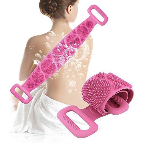 Spazzola Bagno Schiena, Jecxep Silicone Esfoliante Bagno Strap per uomo Donna, Massaggio corpo Facile da pulire (Rosa)