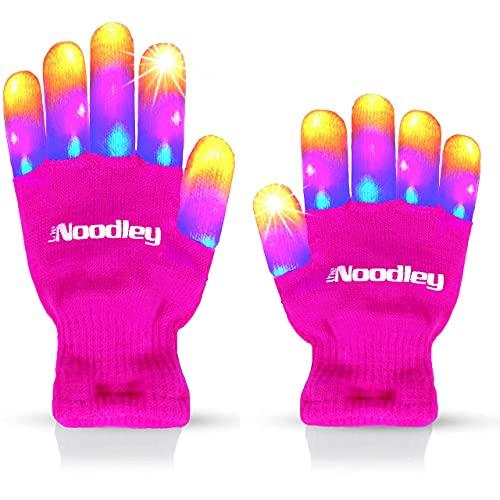 The Noodley Pink Light Up LED Gloves for...