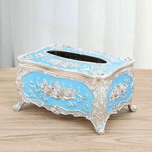 Europese Stijl Tissuebox Woonkamer Eenvoudige En Schattige Huishoudelijke Papierlade Creatieve Salontafel Multifunctionele Afstandsbediening Opbergdoos-Silver Sky Blue (Kort)