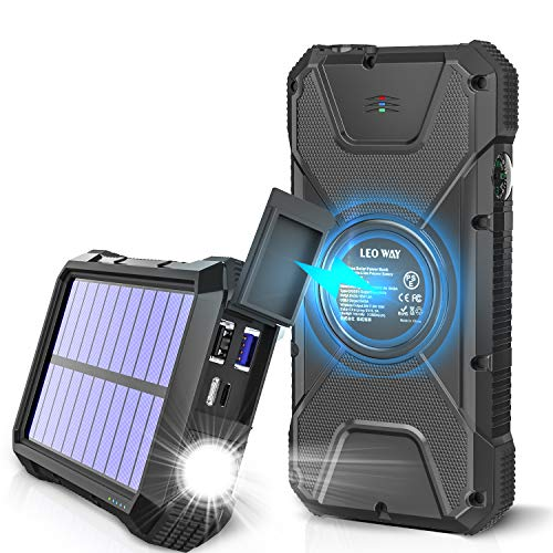 Solar Charger, 20000mAh Solar Power Bank, Qi Wireless Charger for Cell Phone, Portable Charger for Camping, Outdoor, External Battery Pack Flashlight, Compass, Solar Panel Charging by LEO WAY, Black