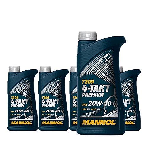 MANNOL 5 x 1L 7209 4-Takt Premium/SAE 20W-40 JASO MA2 API SM Motorradöl Mineral