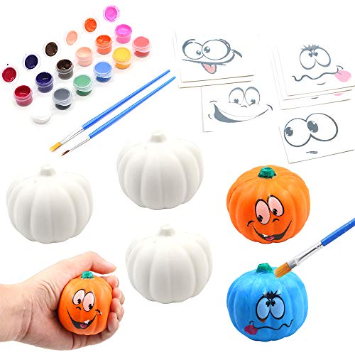 BEIGUO Halloween Crafts Paint Your Own Squishy Pumpkin 6 Pack Slow Rising Halloween Pumpkin with Decorating Stickers Kids Crafts for Halloween Thanksgiving Party Favors