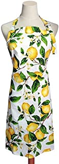 Thin Cotton Women's Kitchen Apron Adjustable Cooking Baking Garden Chef Apron with Pocket Great Gift for Wife Ladies Lovely Lemon Tree Floral
