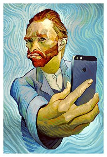 WQHLSH Foto de Van Gogh's Selfie con teléfono Pósters e impresiones Lienzo Arte Muro Retrato Pintura para sala de estar Cuadros para la decoración de la habitación 20x28 pulgadas Sin Marco