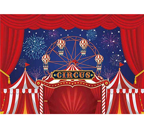 Allenjoy 7x5ft Red Circus Tent Backdrop for Birthday Photography Carnival Night Theme Party Decorations Baby Shower Photo Background Cake Table Banner Photo Booth Studio Props