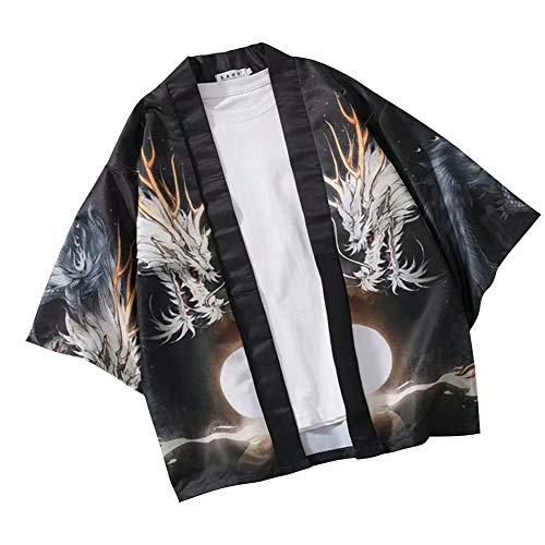 Metermall Fashion For Men Women Shirt Sun Dragon Printing Kimono Loose Middle Sleeve Thin Cardigan Shirt