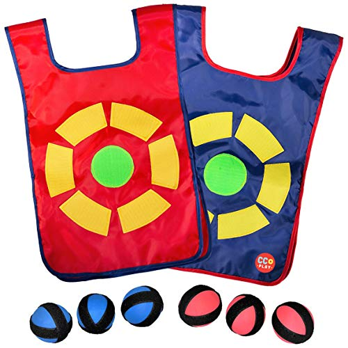 Best Dodgeball Game Set for Kids with 2 Velcro Vests and 6 Dodge Balls, Great Indoor and Outside Dodge Tag Game, Fun Activities for Children to Play, Gift for Boys and Girls 6+ Years