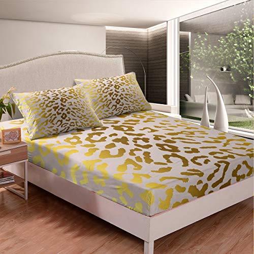 Juego de sábanas de mármol de leopardo con patrón de mármol para niños y niñas niños con textura de mármol sábana bajera ultra suave decoración cama de lujo amarillo tamaño individual