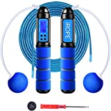 RUNACC Jump Rope Workout Skipping Rope with Counter, Jump Ropes with Foam Handle/Adjustable for Aerobic Exercise, Speed Training, Endurance Training and Fitness Gym(Blue)