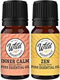 Wild Essentials Inner Calm and Zen 100% Pure Essential Oil Blend Combo Pack, Two 10 ml Bottles, Therapuetic Grade All Natural Aromatherapy, Great for Anxiety and Stress, Made in The USA