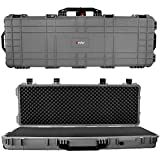 Eylar 48' Inch Protective Roller Tactical Rifle Hard Case with Foam, Mil-Spec Waterproof & Crushproof, Two Rifles Or Multiple Guns, Pressure Valve with Lockable Fittings Gray