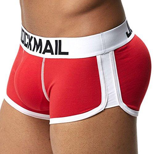 Tongliang Bóxers Ajustados para Hombre Calzoncillos Bóxers para Hombre con Cojín Rellenos de Esponjas Delanteras y Traseras Ropa Interior Elásticos Rojo L