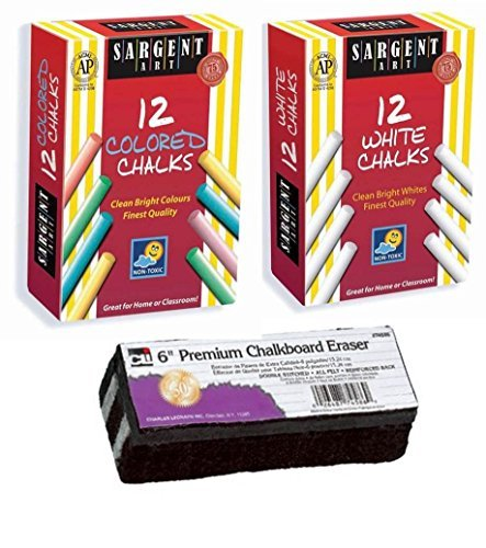 Sargent Non-Toxic White Dustless Chalk (12 ct box) and Colored Dustless Chalk (12 ct box) Bundle + Premium Chalkboard Eraser, Model: , Office Shop